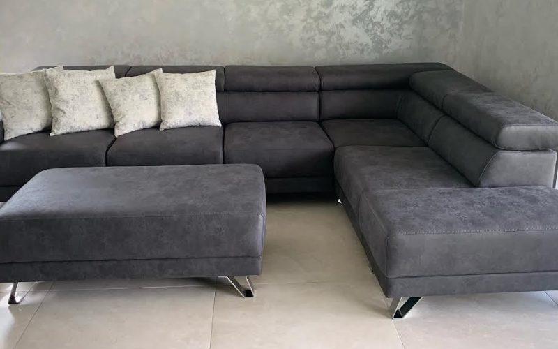 Sivá sedacia súprava na mieru ZUZANA s taburetom